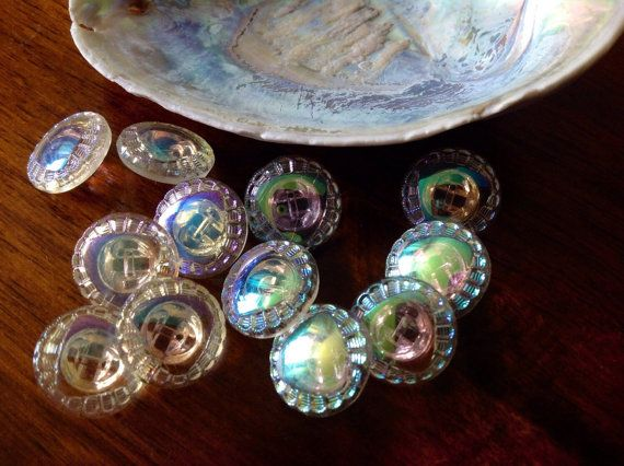 10 aurora borealis knoppen – 10 schitterende oude verzamelaar van glazen knoppen…