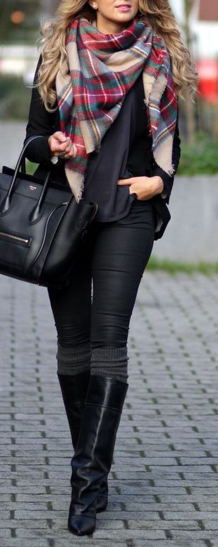 Womens Fall Fashion // skinny jeans, boots, socks, t-shirt, blazer + black tote, tartan scarf