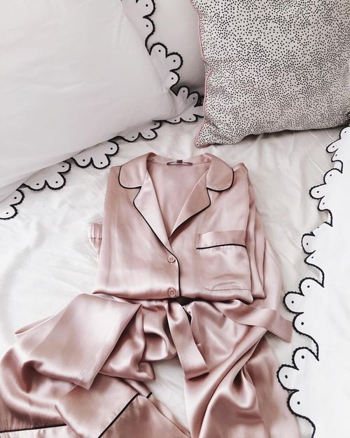PINK SILK PYJAMAS + SCALLOPED EMBROIDERED PILLOWS