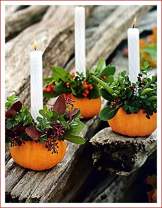 Mini pumpkins, holly, and candles--carve out a hole in the pumpkin and assemble. It's that easy!