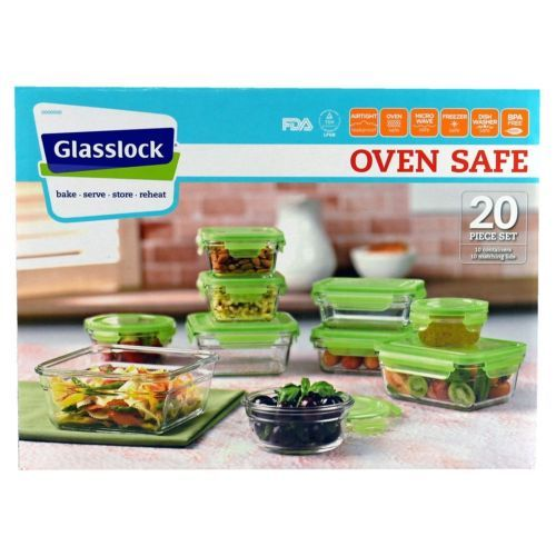 GLASSLOCK Food Storage Containers 20-Piece Set - Bake, Serve, Store, Reheat  (ebay)...  $72.00 (product price+shipping)