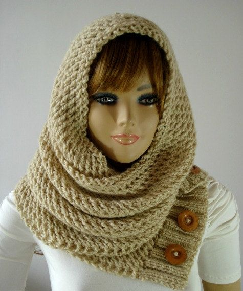 KNITTING PATTERN HOOD Scarf  LouLou Hodded Cowl by LiliaCraftParty