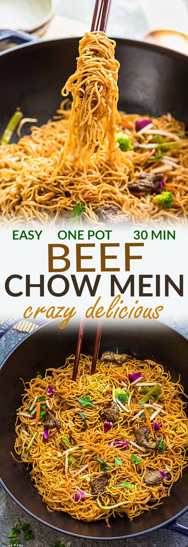 Beef Chow Mein is the perfect easy weeknight meal! Best of all, it comes together in under 20 minutes with in just one pot! Forget calling that local Chinese takeout restaurant for lo mein or ramen, this delicious recipe is so much better with authentic flavors. Seriously the best!! Plus makes great leftovers or make a batch for Sunday meal prep for school and work lunches! Plus step by step recipe video.