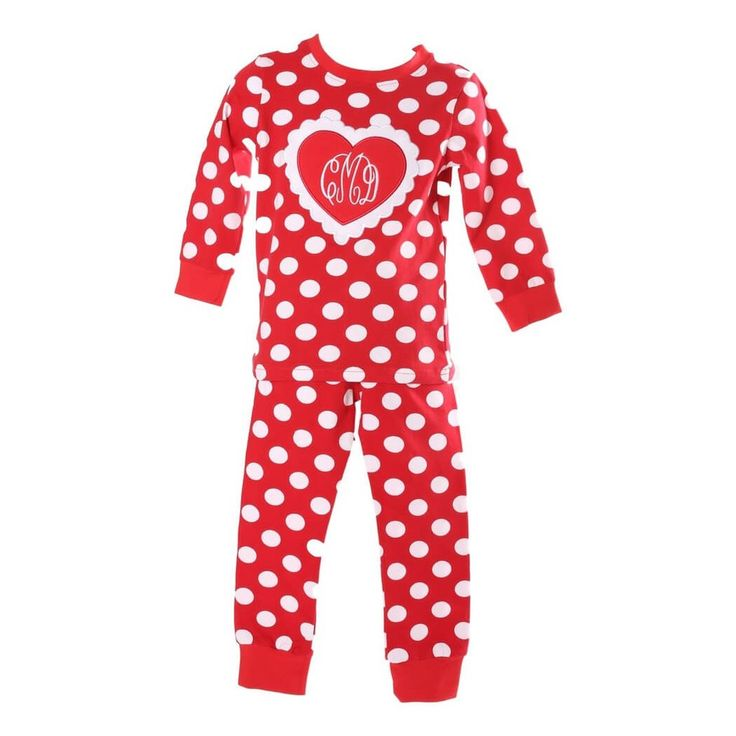 girls red dot heart valentines day pjs - Valentines Day Pajamas