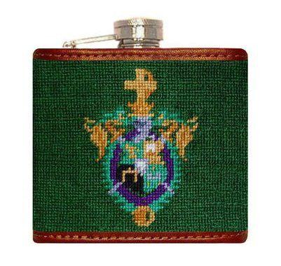 Lambda Chi Alpha Needlepoint Flask in Green by Smathers & Branson