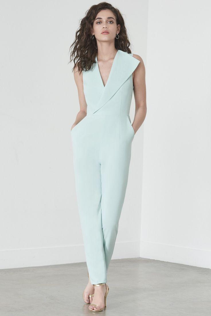 Sleeveless Tailored Jumpsuit in Mint