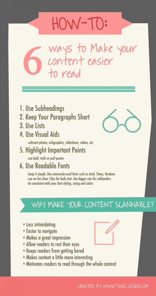 6 Easy Ways To Make Your Content Easier To Read @ twelveskip.com