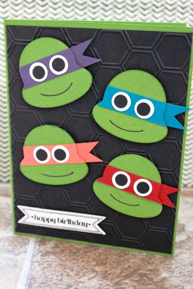So today to the Hubby's Birthday! Yea!!!!    And of course I have to show you the card I made him!          My husband loves his ninja turt...