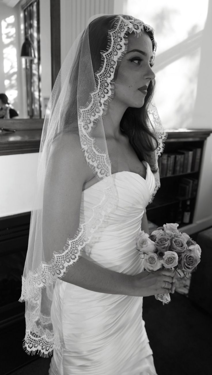 Eyelash Lace Mantilla Veil, Fingertip Length Wedding Veil on Etsy. Wedding hair and make up, vintage wedding looks