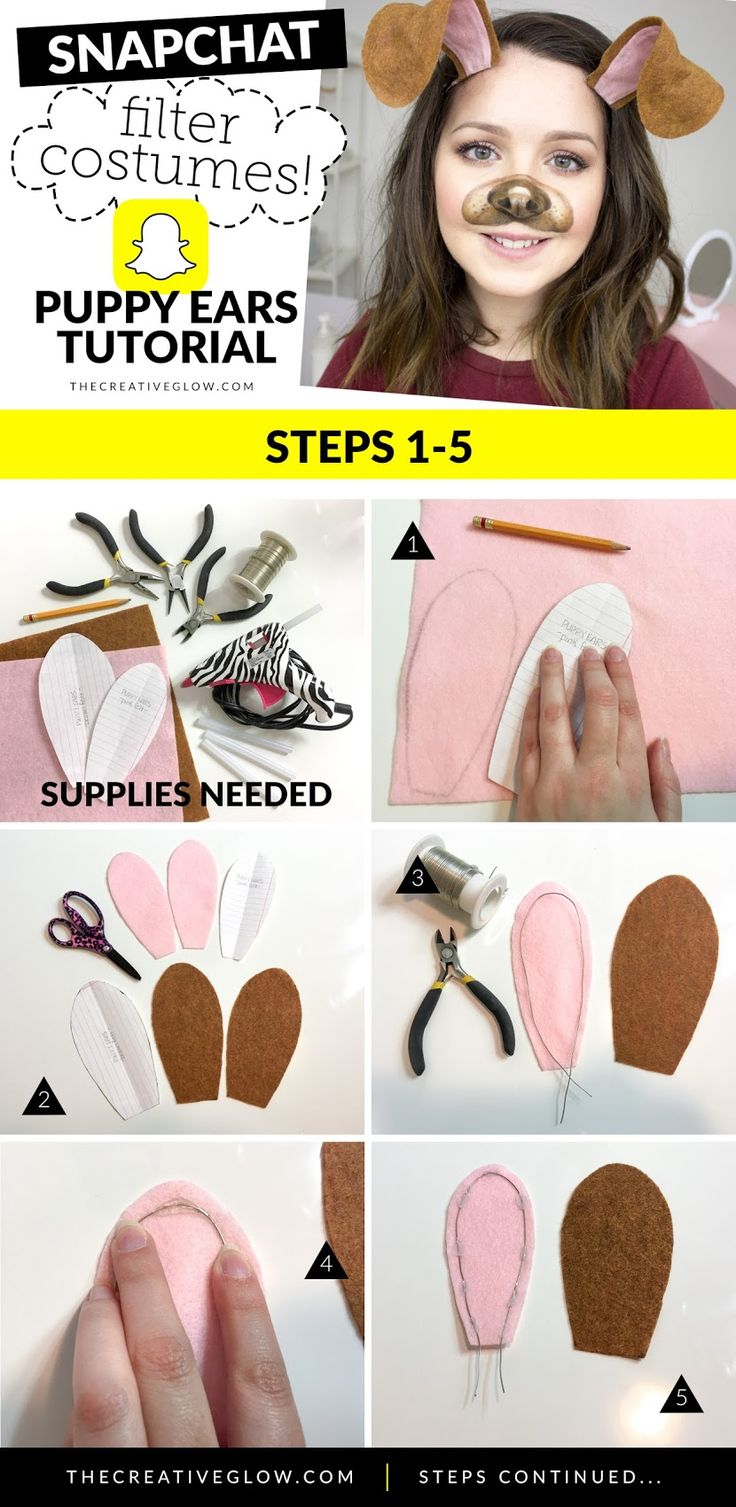 How to make puppy ears headband for snapchat puppy filter costume!   #halloween #snapchatcostumes #puppyfiltercostume
