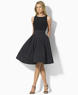 Perfect black cocktail dress.  I love this look and the pockets. I once had a pink dress similiar to this and it had pockets.