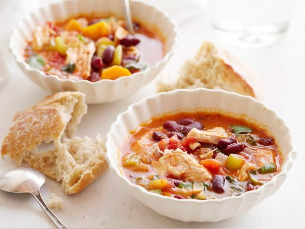 Recipe of the Day: Giada's Chicken Stew         Gently cook a warming tomato-based stew brimming with morsels of chicken, hearty kidney beans and chunky vegetables.