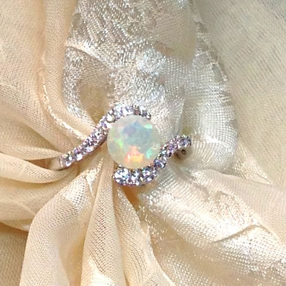 Opal Bypass Ring or Engagement Ring Handmade by NorthCoastCottage, $279.00
