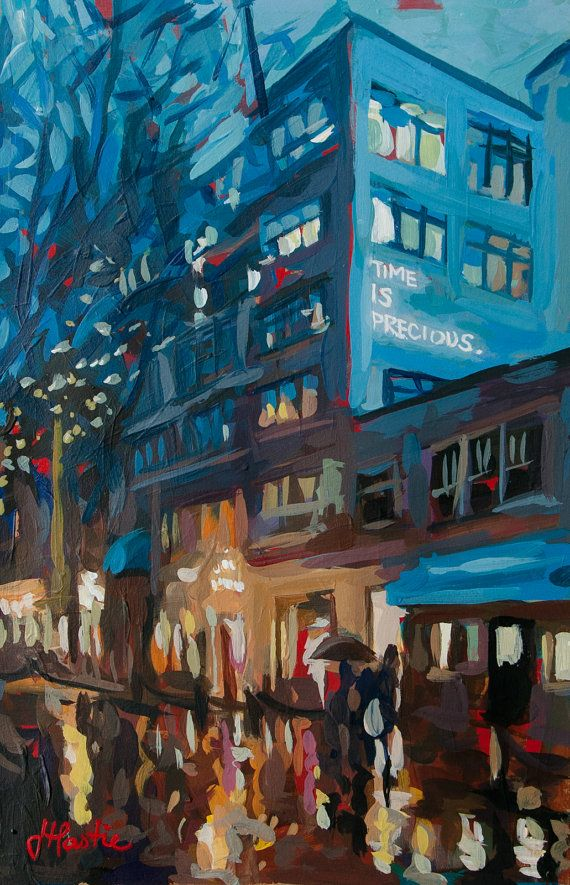 Original, one-of-a-kind artwork painted by Joanne Hastie. This painting was inspired from a walk home in the pouring rain through Gastown. The street lights had just turned on and I noticed a sign on one of the buildings saying Time is Precious. I painted this image a couple days later in my warm & dry studio space. This unique painting size is 9 x 12 on heavy-weight, light brown-colored paper. The original painting has been signed by me in paint and then my name and date written printed…