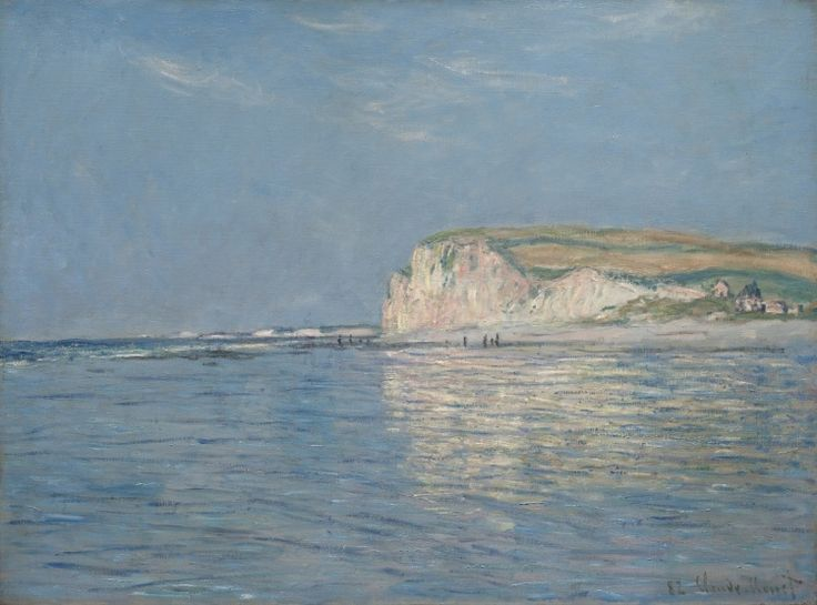 """Low Tide at Pourville, Near Dieppe, 1882"" by Claude Monet. At The Cleveland (OH) Museum of Art. One of several views Monet painted of the cliffs and sand flats of Pourville, a fishing village on the Normandy coast of France. The title indicates it is low tide. However, the paint layers under the beach indicate that this part of the composition originally depicted water, as would be appropriate for a depiction of high tide."