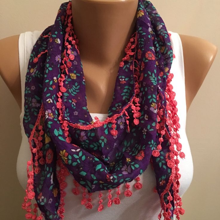 A personal favorite from my Etsy shop https://www.etsy.com/listing/269751019/purple-floral-scarflace-scarfwomens