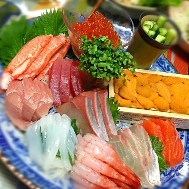 うにもいくらさんも美味しかった〜♡ うにといくら以外、こっちのお刺身はスーパーで買い足したやつ♡ - 10件のもぐもぐ - 手巻き寿司の具2⃣♡ by yosaku