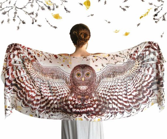 This unique bohemian owl wings, bird feathers shawl scarf features:  Hand-painted and then digitally printed Art of a DAY Owl - Light Feather. This is a highly detailed representation of a mysterious gorgeous creature, my favorite totem animal. This scarf would make the most amazing gift for your loved ones!  Truly versatile, this scarf looks great paired with any outfit, SO many ways to wear it! Classic scarf or shawl, tube top or halter top, as a bandana or turban, sarong or wrap skirt…