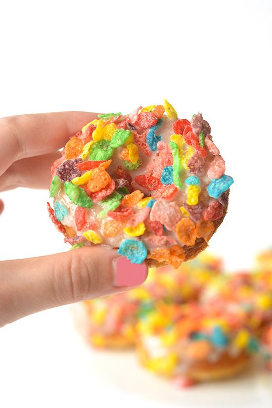 Fruity Pebble Cereal Milk Baked Donuts