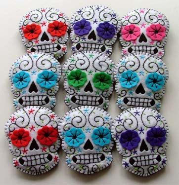 Rockabilly Wedding Boutonnieres Custom Made Sugar Skulls. instead of the traditional flower boutonniere for the groomsmen