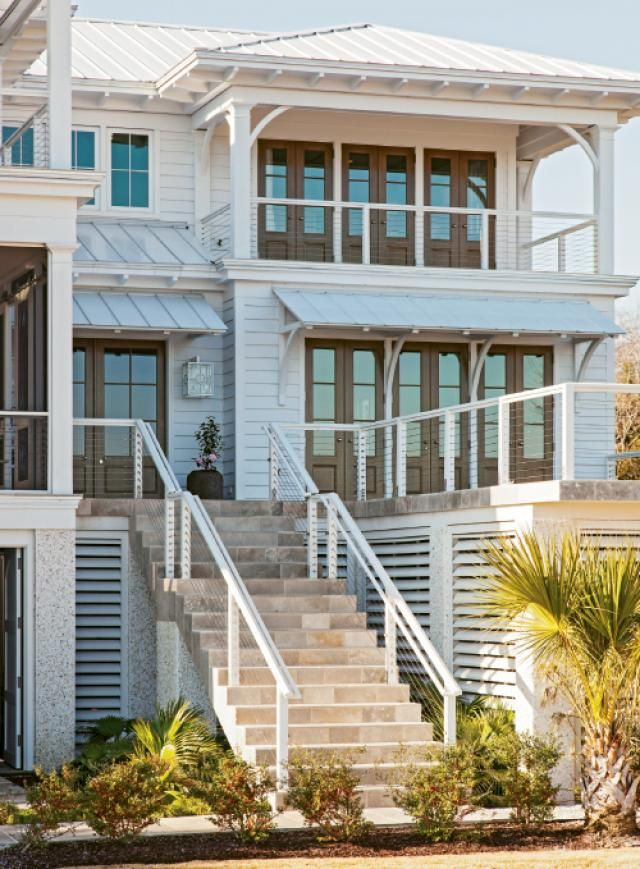 If you're going to live on the coast take this home as inspiration and build high with all the natural disasters you must build at least 10 to 12 feet above grade smart design smart investment via  Charleston Magazine