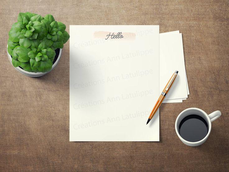 Paper à lettre Hello imprimable format lettre 8.5x11, Hello printable writing paper letter size, stationary paper,papier à écrire à imprimer