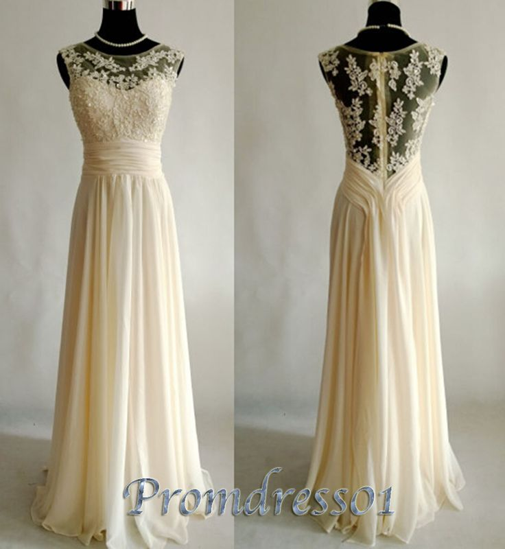 #promdress01 2015 spring new design unique long creamy lace chiffon round neck vintage long prom dress for teens, ball gown, bridesmaid dress, evening dress #promdress #wedding