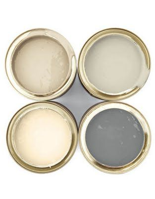 Farrow and Ball - clockwise on the left, they are String, Stony ground, Chemise and Satin slipper.