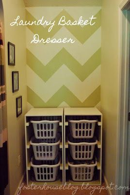 DIY Laundry Basket Dresser - If only I could get the kids and my husband to put things in the baskets instead of the floor!