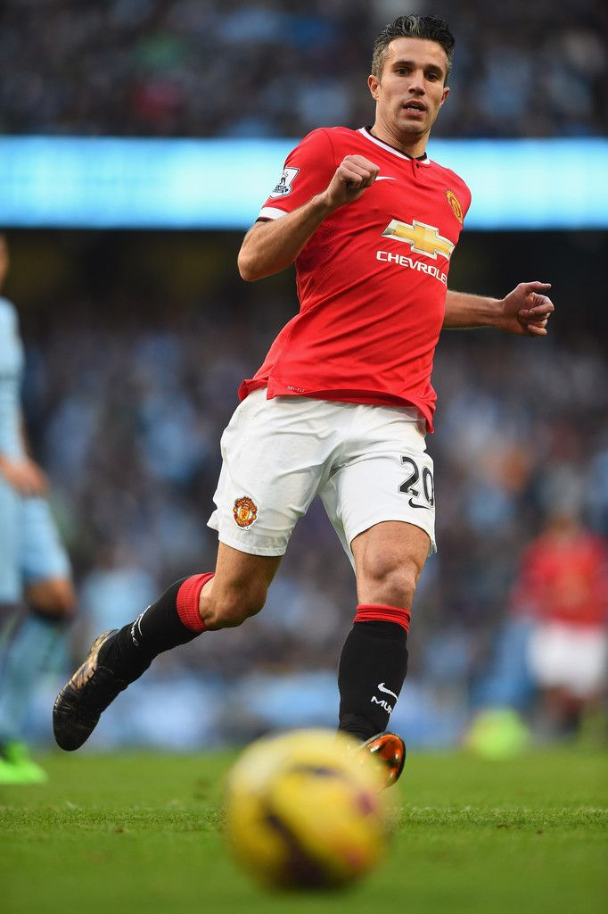 Robin van Persie of Manchester United in action during the Barclays Premier League match between Manchester City and Manchester United at Etihad Stadium on November 2, 2014 in Manchester, England.