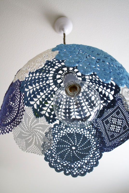 Doily Lamp...sew doilies together, then dip in liquid cornstarch and then form over a large ball to dry.