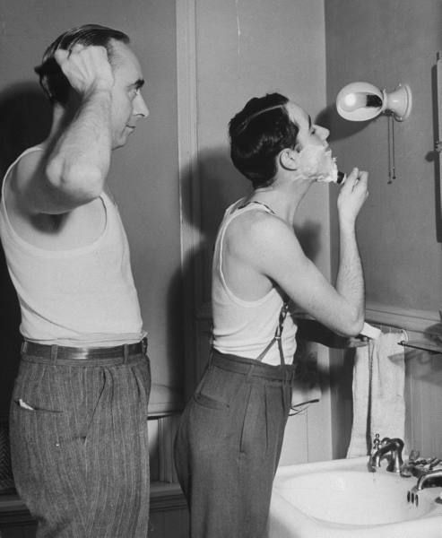 Teens, 1942 Here a father teaches his son how to shave. Description from pinterest.com. I searched for this on bing.com/images