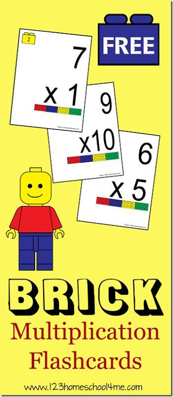 FREEE Lego Brick Multiplication Flash Cards