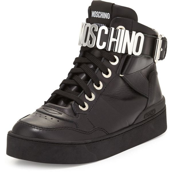 Moschino Lettering Leather High-Top Sneaker (19,945 THB) ❤ liked on Polyvore featuring shoes, sneakers, black, black hi top sneakers, black leather high tops, ankle strap flats, black lace up flats and black leather flats