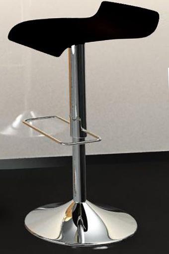 Taburete elevable tapizado en polipiel disponible en color blanco y negro.