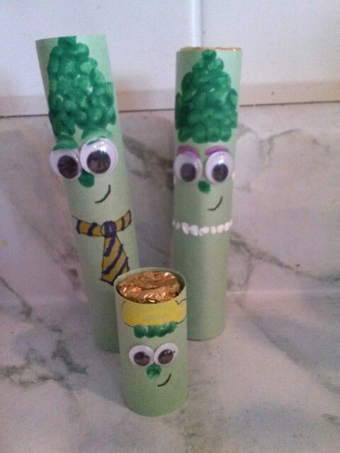 Veggie Tales party favors. Rolos wrapped in green paper and decorated to look like asparagus.