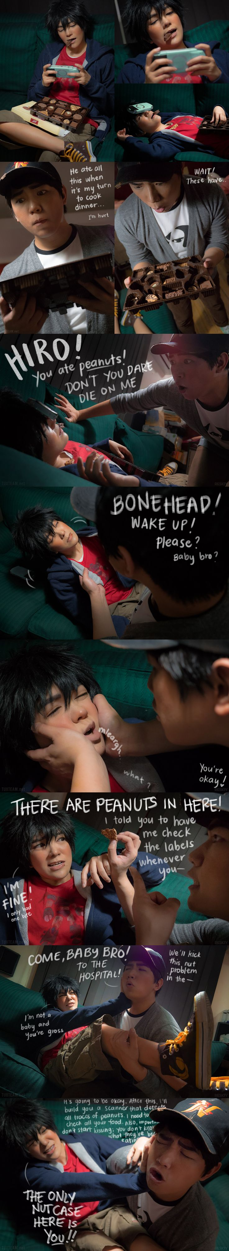 Big Hero 6 Tadashi being an overprotective brother to Hiro Hamada cosplay when Hiro accidently ate some candy that probably has peanuts in them that he is allergic to.