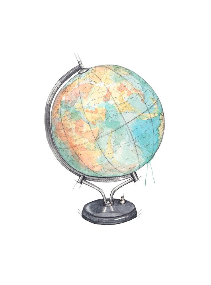 """Globus"" (Norwegian vintage globe)  Copyright: Emmeselle.no   illustration by Mona Stenseth Larsen"