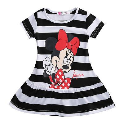 baby Kids Girls cartoon Minnie dress Christmas grils Party dresses child's clothes striped tutu Princess dress
