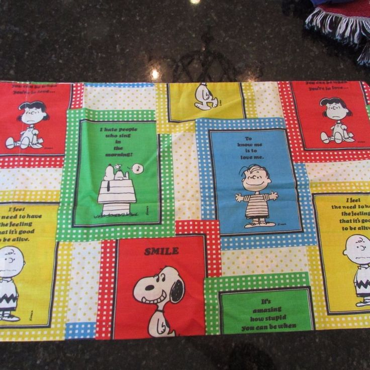 Vintage Peanuts Pillowcase Snoopy Linus Lucy Charlie Brown Woodstock 1970 #UnitedFeatureSyndicate #Contemporary