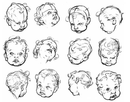 Line Drawing Of Baby Face : Best images about drawing babies kids on pinterest