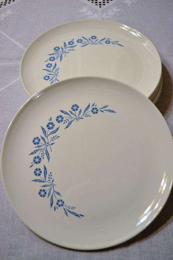 Vintage Corning Cornflower Blue Dinner Plate by PanchosPorch