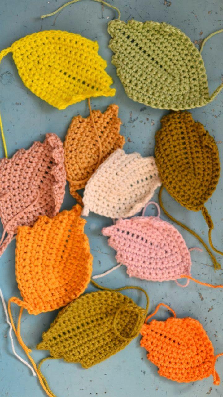 ingthings: Crochet leaves and a storm ... ﻬஐCQஐﻬ #crochet #spring…