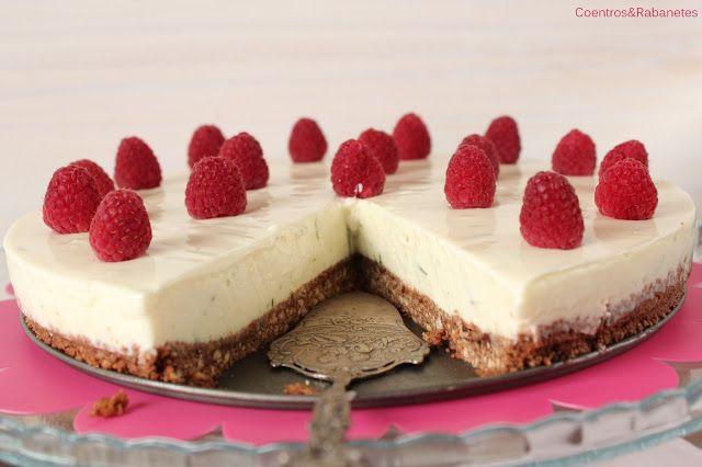 Bolo frio de queijo, lima e framboesa // No-bake lime and raspberry cheesecake