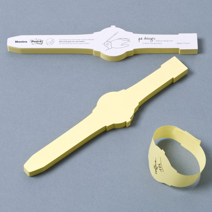 Watch shaped sticky notes that wrap around your wrist. PA-design