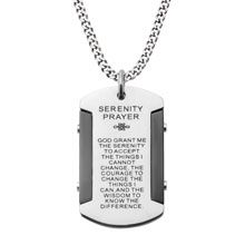 """Men's Stainless Steel Black IP & Steel Etched with Serenity Prayer Dog Tag Pendant. This Pendant has Serenity Prayer etched into the Steel Surface. """"INOX Catalog Volume 20 page 31""""."""