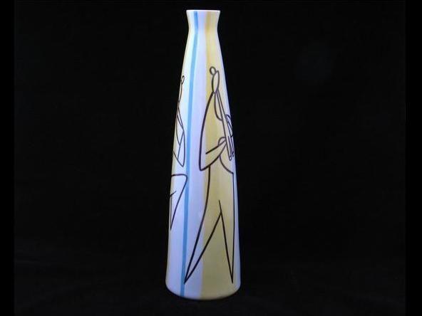 Modern nagyváza - 01  Porcelán, máz feletti festéssel  Készült: 1960-es évek elején   Mérete:   Jelezve: alján öttörnyos Zsolnay pecsét   http://innogaleria.hu/termekek/porcelan/zsolnay_gyar_pecs/modern_nagyvaza.html