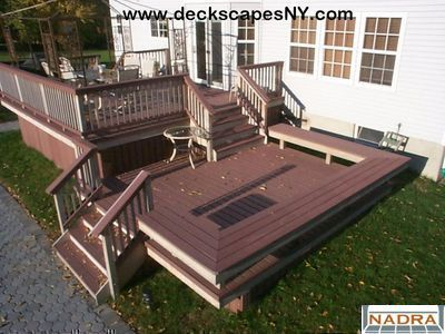 Two level deck with one step down to the yard and patio. Description from pinterest.com. I searched for this on bing.com/images