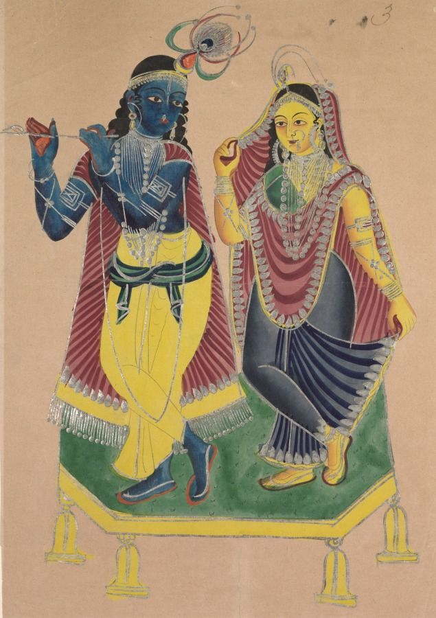Radha and Krishna, 1800s India, Calcutta, Kalighat painting, 19th century black ink, color and silver paint, and graphite underdrawing on paper, Painting only - h:40.40 w:27.90 cm (h:15 7/8 w:10 15/16 inches). Gift of William E. Ward in memory of his wife, Evelyn Svec Ward 2003.167 | Cleveland Museum of Art