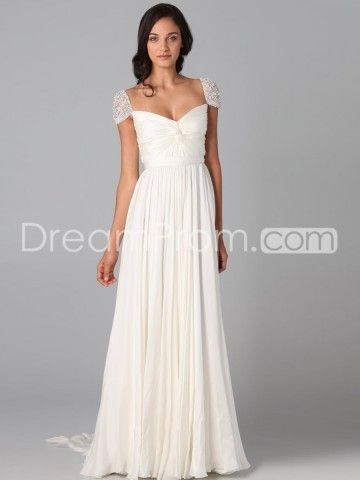 2014 Style A-line Sweetheart  Beading  Short  Floor-length Chiffon White Prom Dress / Evening Dress